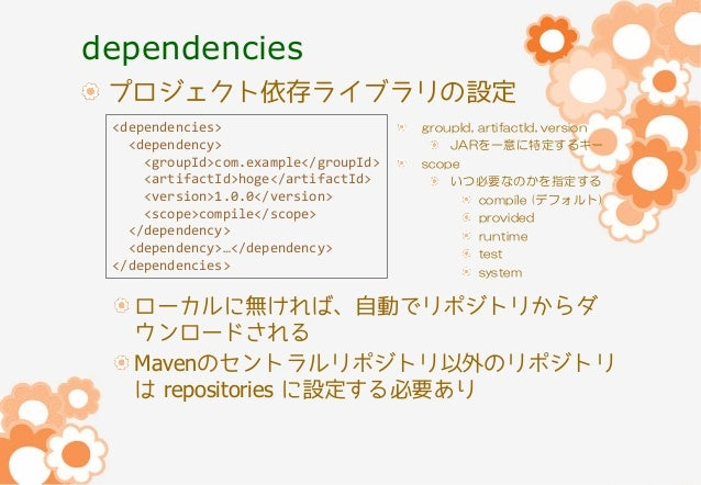 dependencies プロジェクト依存ライブラリの設定 <dependencies> <dependency> <groupId>com.example</groupId> <artifactId>hoge</artifactId> <ve...