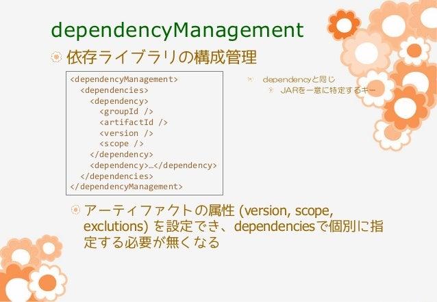 dependencyManagement 依存ライブラリの構成管理 <dependencyManagement> <dependencies> <dependency> <groupId /> <artifactId /> <version /...