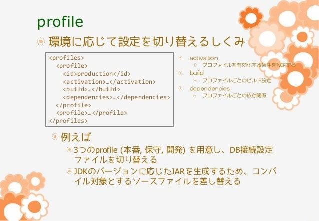 profile 環境に応じて設定を切り替えるしくみ <profiles> <profile> <id>production</id> <activation>…</activation> <build>…</build> <dependenci...