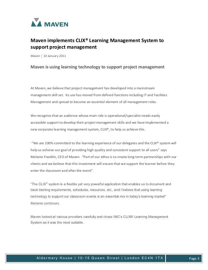 Maven implements CLIX® Learning Management System tosupport project managementMaven ¦ 10 January 2011Maven is using learni...