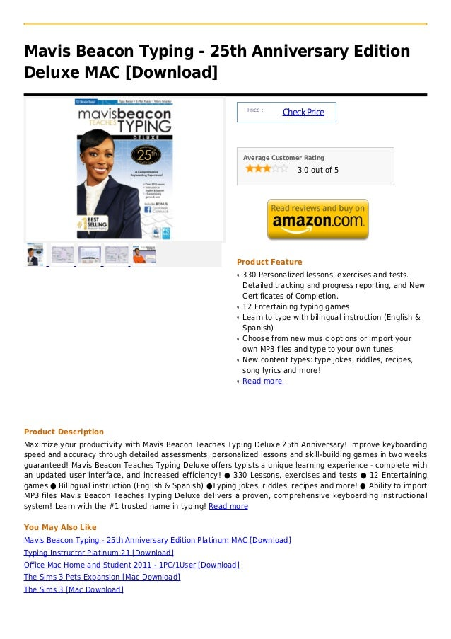 Mavis Beacon Typing - 25th Anniversary EditionDeluxe MAC [Download]                                                       ...