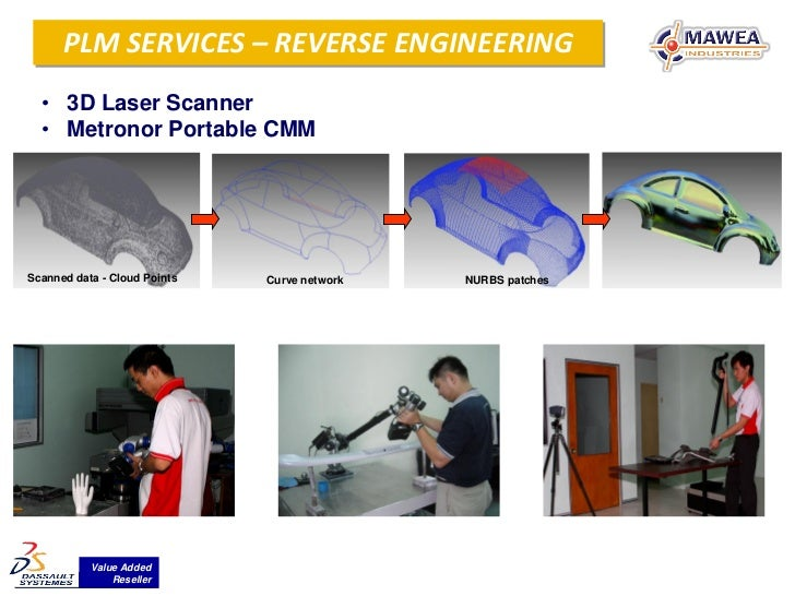 PLM SERVICES – REVERSE ENGINEERING  Reverse Engineering  • 3D Laser Scanner  • Metronor Portable CMMScanned data - Cloud P...