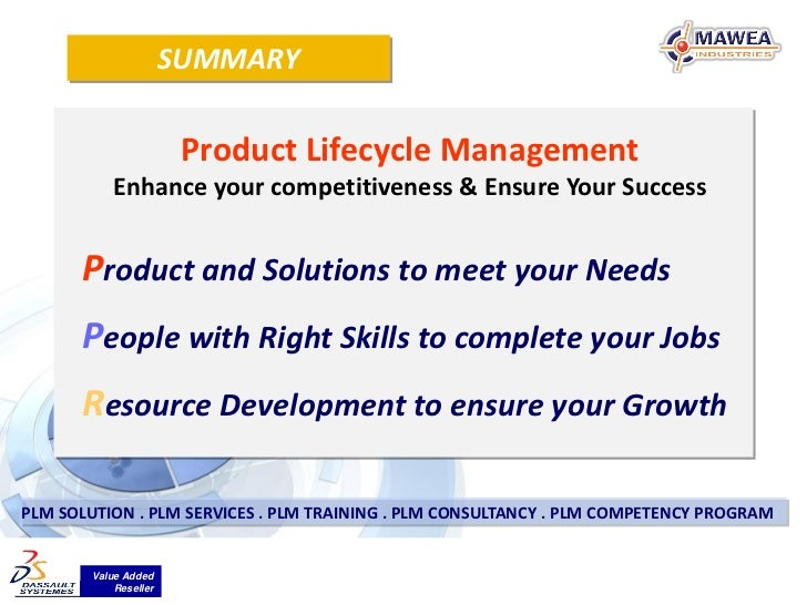 SUMMARY                       Product Lifecycle Management           Enhance your competitiveness & Ensure Your Success   ...