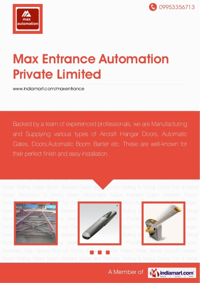 09953356713 A Member of Max Entrance Automation Private Limited www.indiamart.com/maxentrance Aircraft Hangar Doors Slidin...