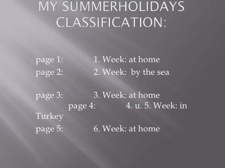 page 1:   1. Week: at home page 2:   2. Week:  by the sea   page 3:   3. Week: at home  page 4:  4. u. 5. Week: in Turkey ...