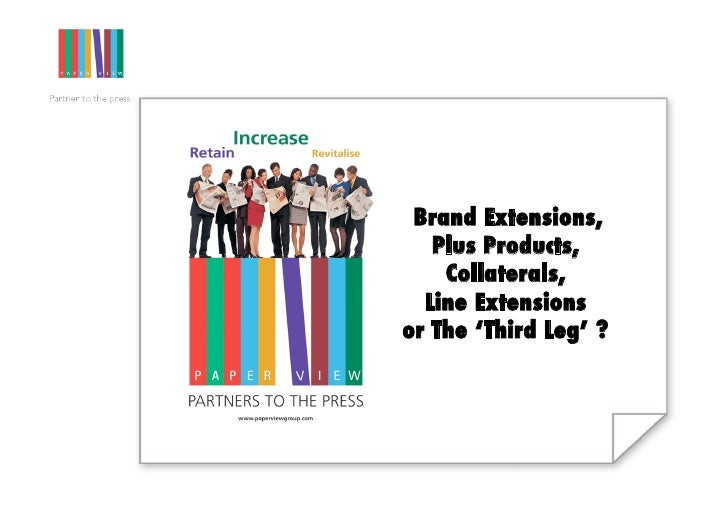 Brand Extensions, !    Plus Products,     Collaterals, !   Line Extensions ! or The 'Third Leg' ?