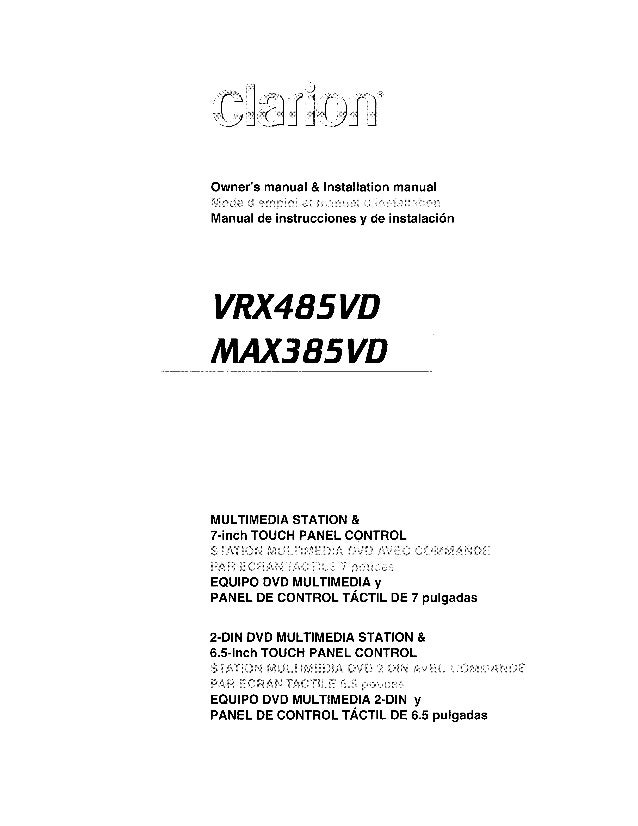 clarion max385vd user manual rh slideshare net