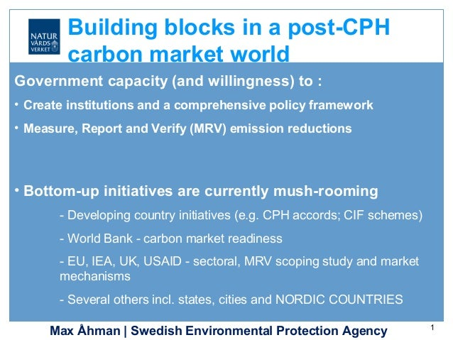Max Åhman | Swedish Environmental Protection Agency 1 Government capacity (and willingness) to : • Create institutions and...
