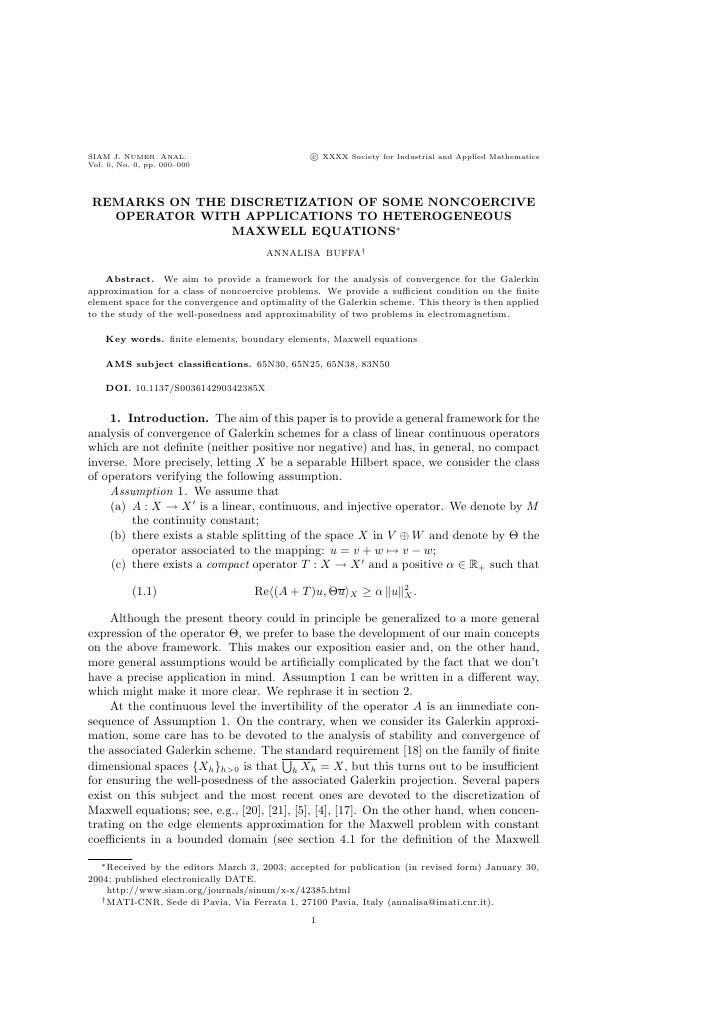 SIAM J. NUMER. ANAL.                             c XXXX Society for Industrial and Applied MathematicsVol. 0, No. 0, pp. 0...