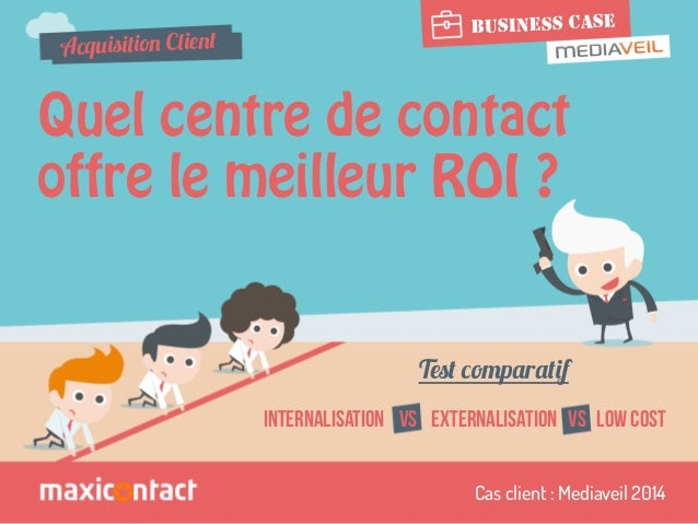 BUSINESS CASE  Acquisition Client  Quel centre de contact  offre le meilleur ROI ?  Test comparatif  INTERNALISATION VS EX...