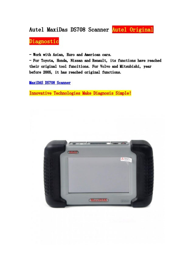 Autel MaxiDas DS708 Scanner Autel Original Diagnostic - Work with Asian, Euro and American cars. - For Toyota, Honda, Niss...