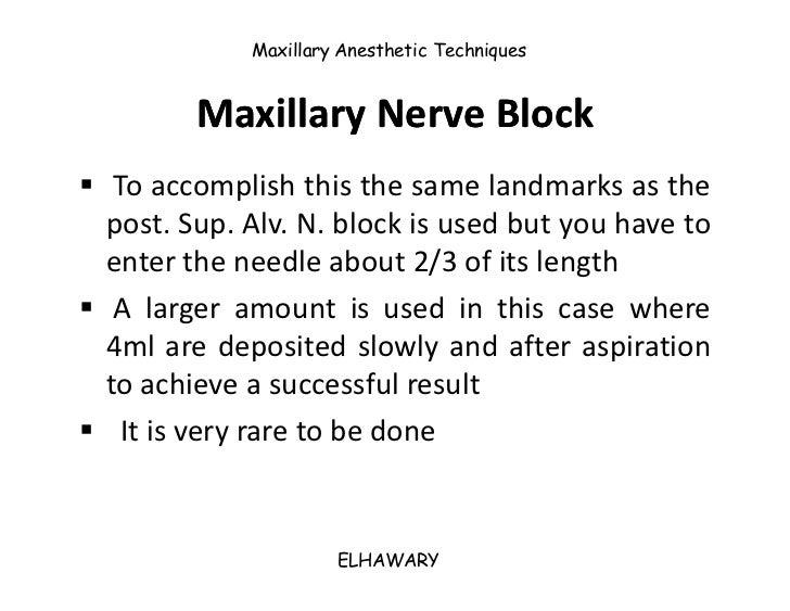 12: Maxillary Nerve Anesthesia | Pocket Dentistry
