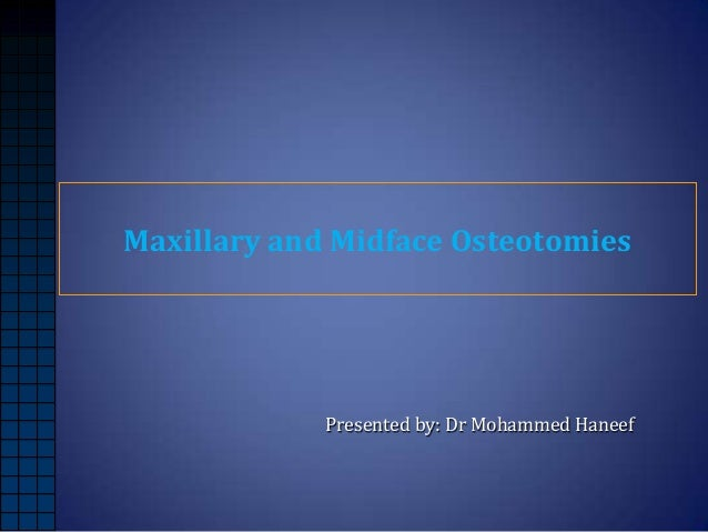 Maxillary and Midface Osteotomies  Presented by: Dr Mohammed Haneef