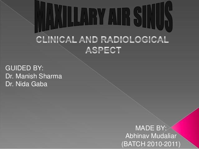 GUIDED BY: Dr. Manish Sharma Dr. Nida Gaba  MADE BY: Abhinav Mudaliar (BATCH 2010-2011)