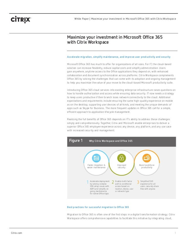 1 White Paper | Maximize your investment in Microsoft Office 365 with Citrix Workspace Citrix.com Maximize your investment...