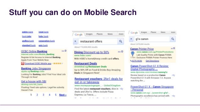Stuff you can do on Mobile Search