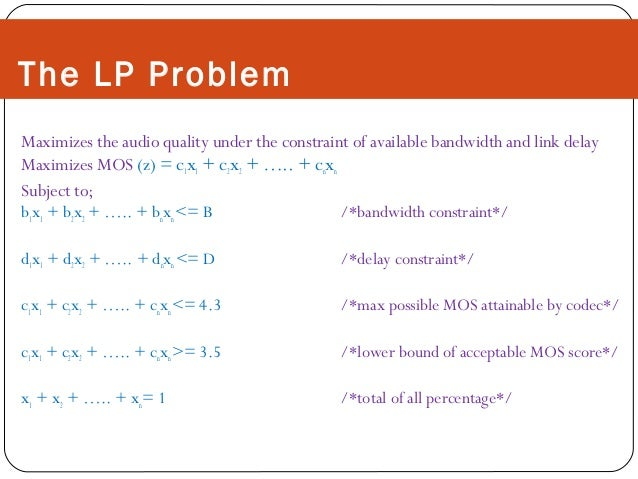 The LP Problem Maximizes the audio quality under the constraint of available bandwidth and link delay Maximizes MOS (z) = ...