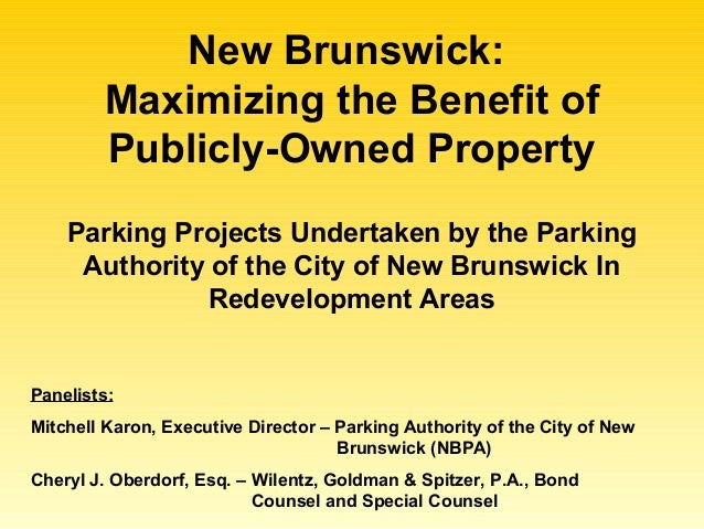 New Brunswick: Maximizing the Benefit of Publicly-Owned Property Panelists: Mitchell Karon, Executive Director – Parking A...