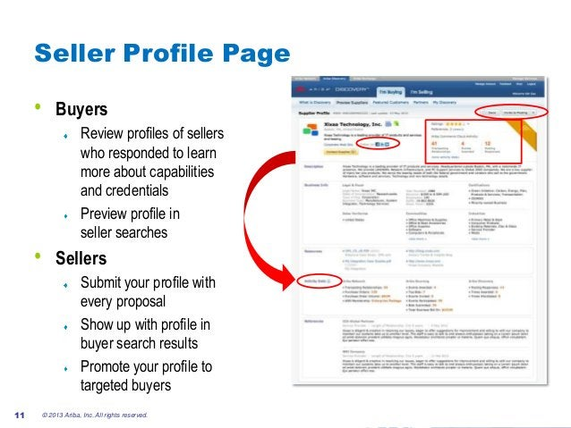 #AribaLIVE Seller Profile Page • Buyers Review profiles of sellers who responded to learn more about capabilities and cred...