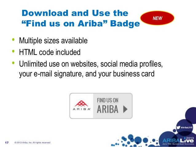 """#AribaLIVE Download and Use the """"Find us on Ariba"""" Badge • Multiple sizes available • HTML code included • Unlimited use o..."""