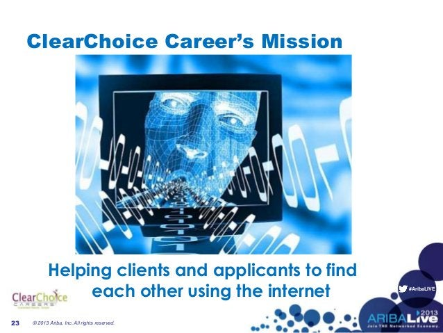 #AribaLIVE ClearChoice Career's Mission Helping clients and applicants to find each other using the internet © 2013 Ariba,...