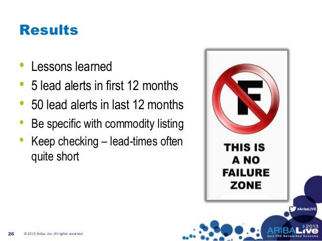 #AribaLIVE Results • Lessons learned • 5 lead alerts in first 12 months • 50 lead alerts in last 12 months • Be specific w...