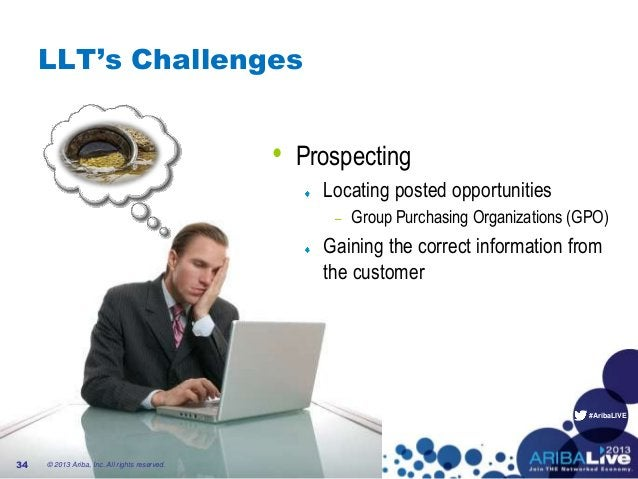 #AribaLIVE LLT's Challenges • Prospecting Locating posted opportunities – Group Purchasing Organizations (GPO) Gaining the...