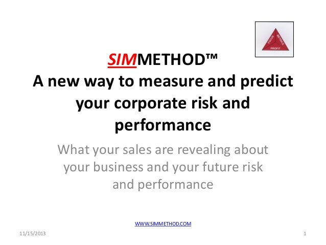 SIMMETHOD™ A new way to measure and predict your corporate risk and performance What your sales are revealing about your b...