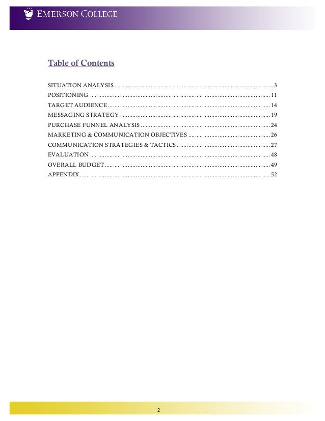 Maximizing the emerson college purchase funnel complete - Marketing plan table of contents ...