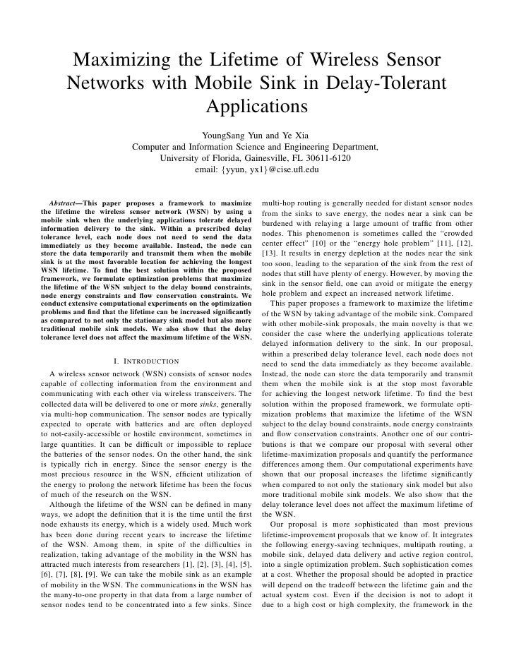 Maximizing the Lifetime of Wireless Sensor        Networks with Mobile Sink in Delay-Tolerant                       Applic...