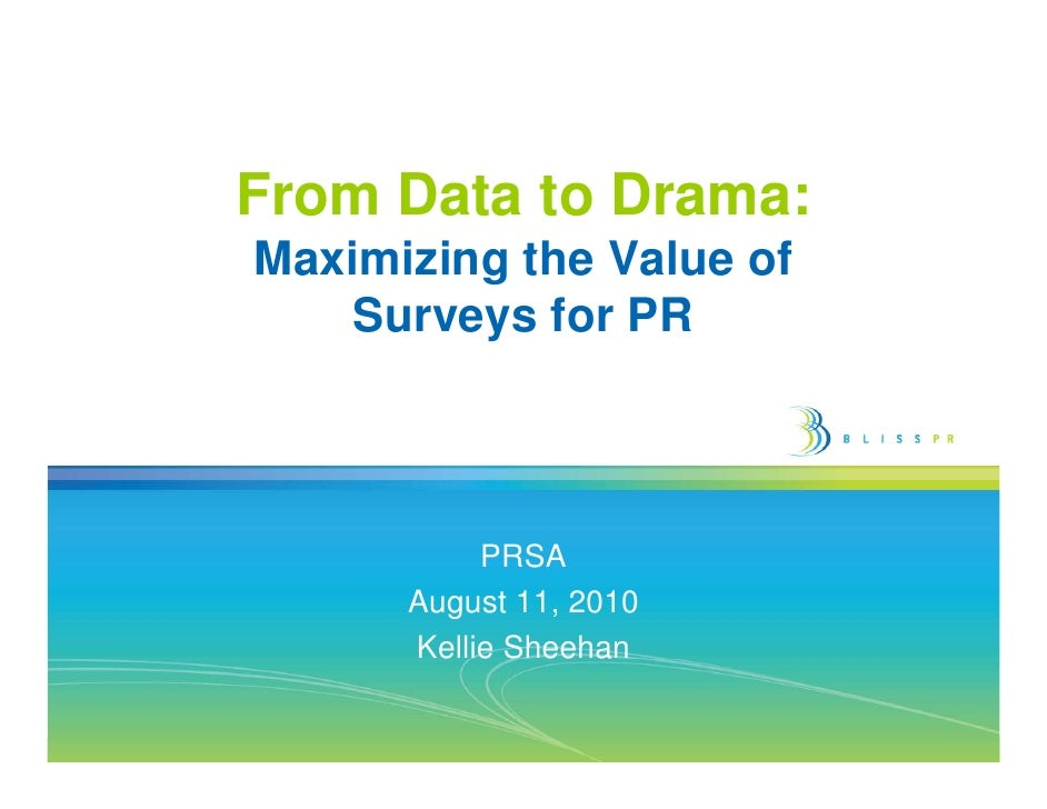 Maximizing the Value of Surveys for PR