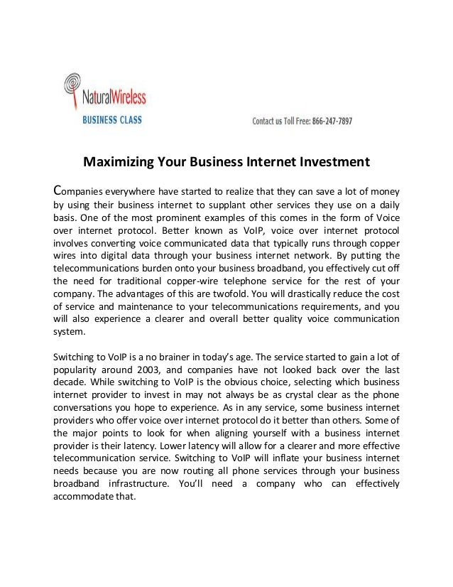 Maximizing Your Business Internet Investment Companies everywhere have started to realize that they can save a lot of mone...