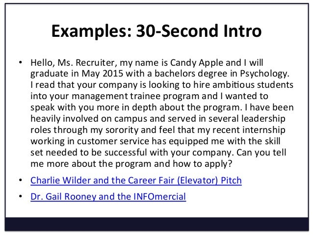 elevator speech examples for maximizing your career fair experience 30 second