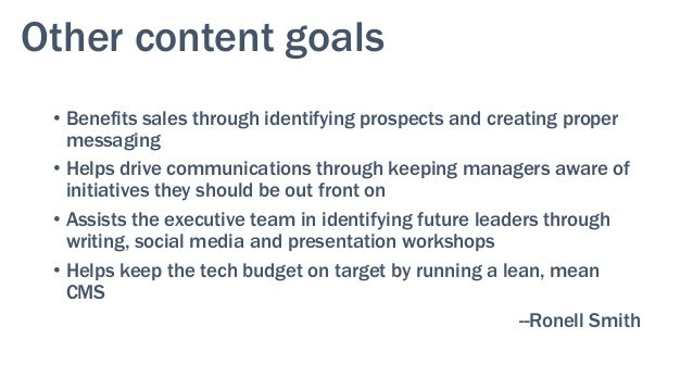 Other content goals • Behavior flow and conversions • Direct and indirect feedback —Jess Hutton