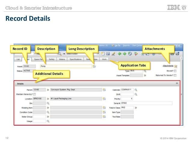 Record Details  Record ID Description Long Description Attachments  Application Tabs  Additional Details  12 © 2014 IBM Co...