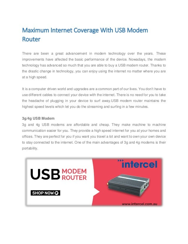 Maximum internet coverage with usb modem router