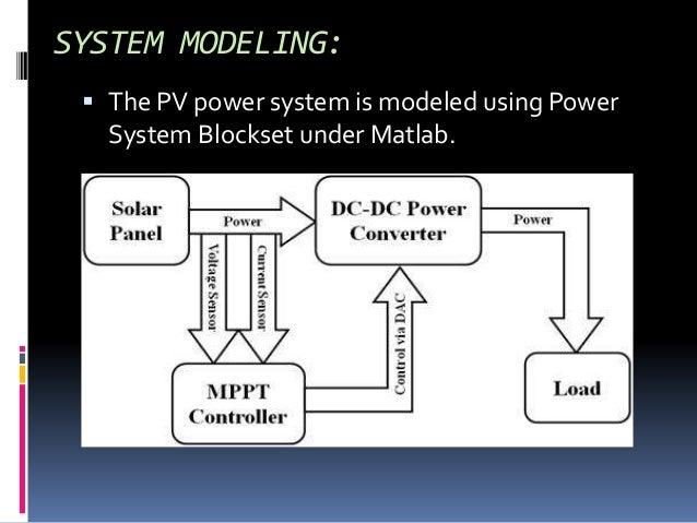 SYSTEM MODELING:  The PV power system is modeled using Power System Blockset under Matlab.