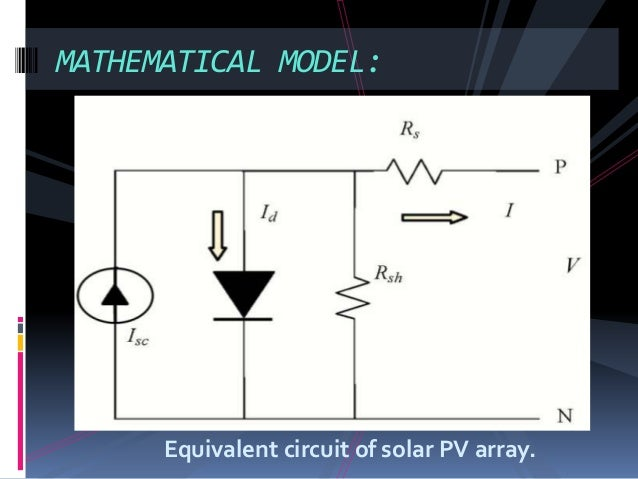 Equivalent circuit of solar PV array. MATHEMATICAL MODEL: