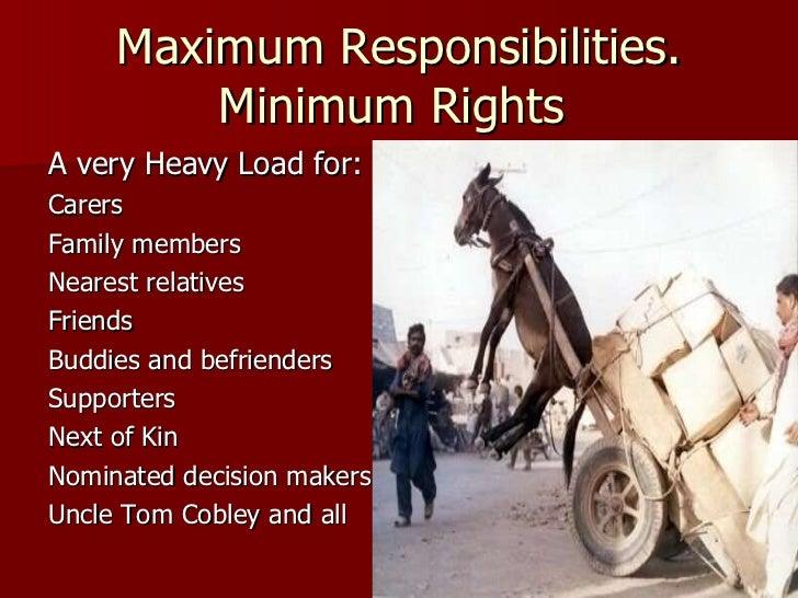 Maximum Responsibilities. Minimum Rights  <ul><li>A very Heavy Load for: </li></ul><ul><li>Carers </li></ul><ul><li>Family...