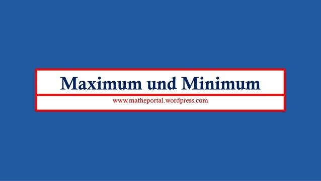Minimum Und Maximum