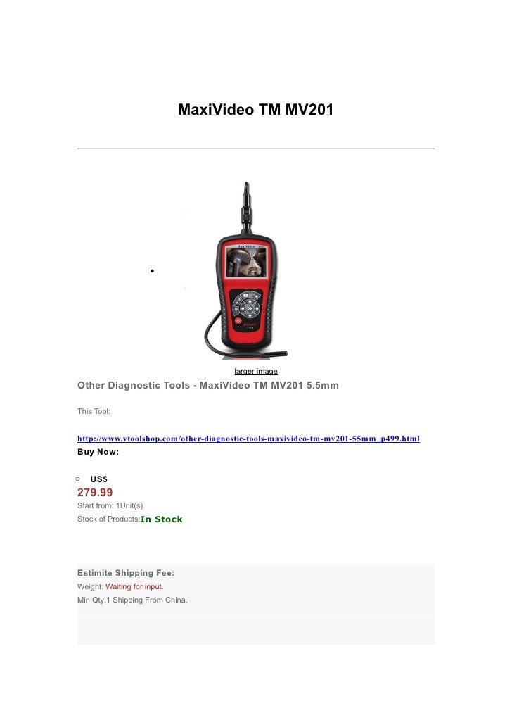 MaxiVideo TM MV201                       •                                     larger imageOther Diagnostic Tools - MaxiVi...