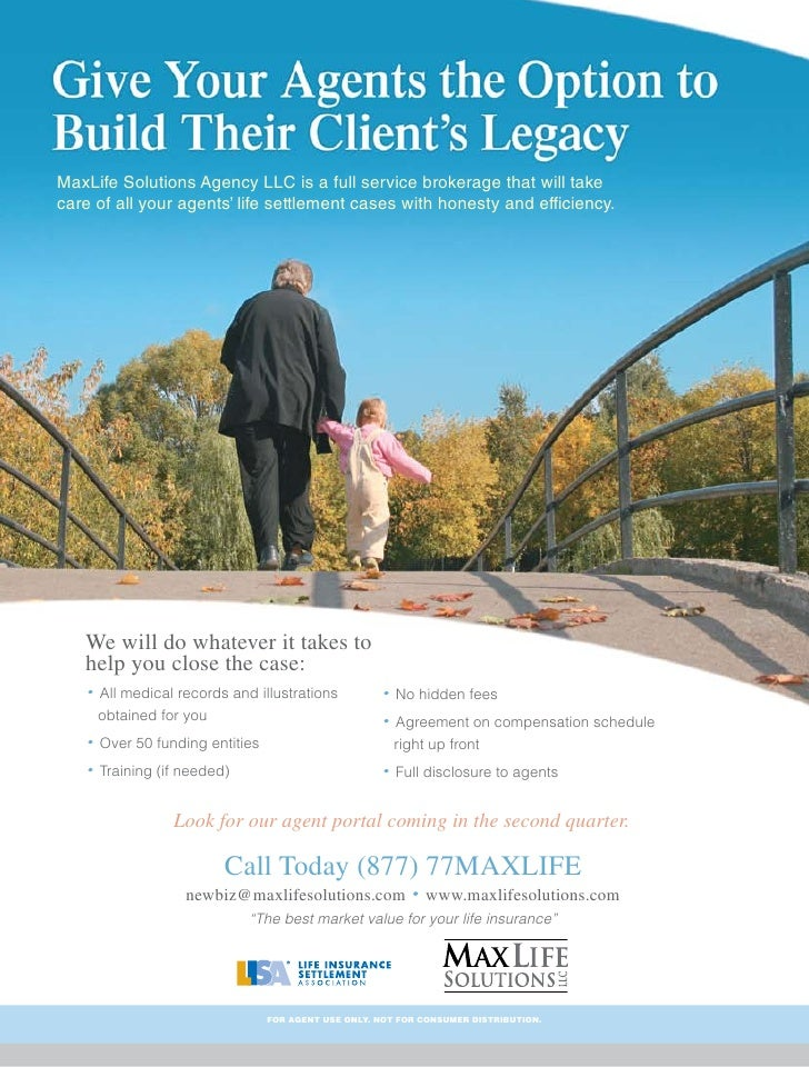 maxlife solutions agency llc is a full service brokerage that will take care of all your - Full Page Color