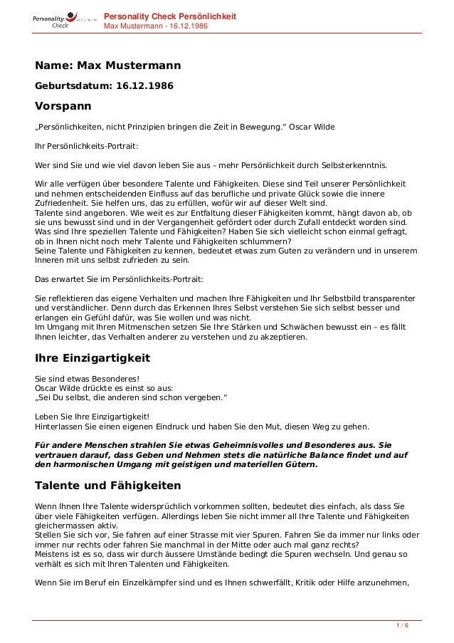 """Personality Check Persönlichkeit Max Mustermann - 16.11.1994 Name: Max Mustermann Geburtsdatum: 16.11.1994 Vorspann """"Persö..."""