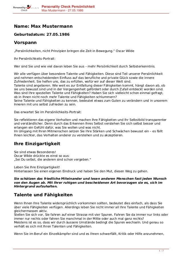 """Personality Check Persönlichkeit Max Mustermann - 27.05.1986 Name: Max Mustermann Geburtsdatum: 27.05.1986 Vorspann """"Persö..."""