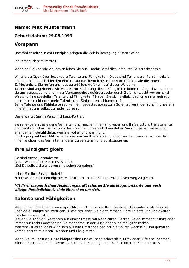 """Personality Check Persönlichkeit Max Mustermann - 29.07.1952 Name: Max Mustermann Geburtsdatum: 29.07.1952 Vorspann """"Persö..."""