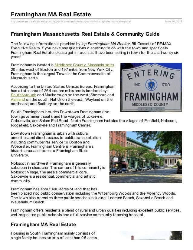 http://www.maxrealestateexposure.com/ma-re/middlesex-county/framingham-ma-real-estate/ June 10, 2013Framingham MA Real Est...