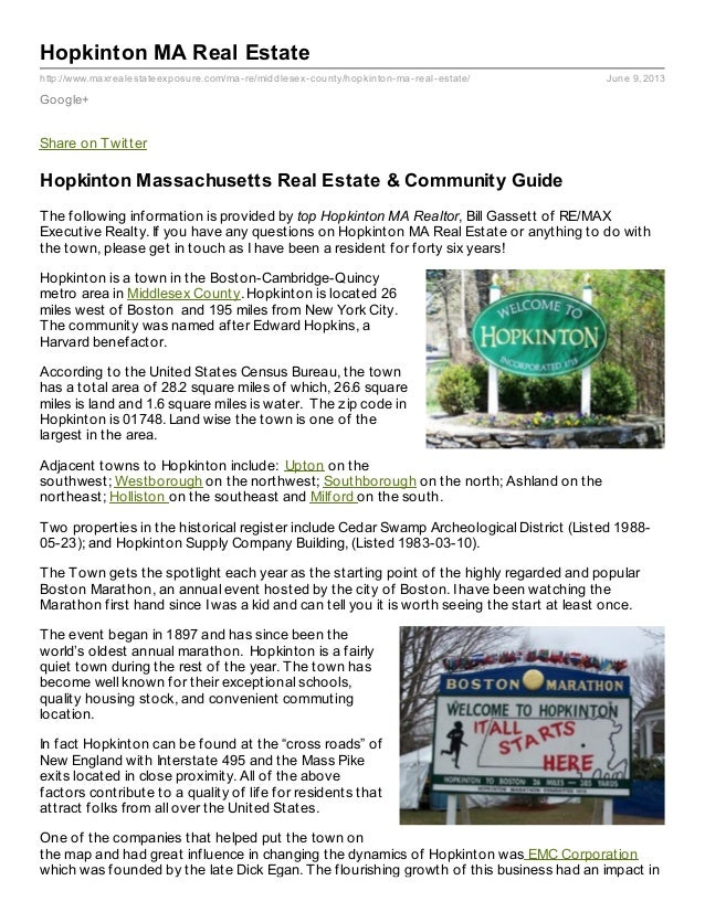 http://www.maxrealestateexposure.com/ma-re/middlesex-county/hopkinton-ma-real-estate/ June 9, 2013Hopkinton MA Real Estate...