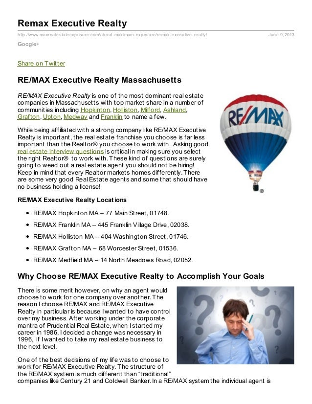 http://www.maxrealestateexposure.com/about-maximum-exposure/remax-executive-realty/ June 9, 2013Remax Executive RealtyGoog...