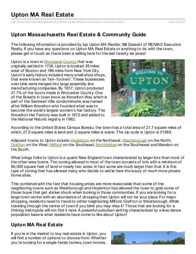 http://www.maxrealestateexposure.com/ma-re/worcester-county/upton-ma-real-estate/ June 9, 2013Upton MA Real EstateUpton Ma...