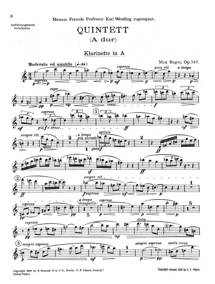 Max reger   clarinet (en la-a) quintet - op. 146 (clar)